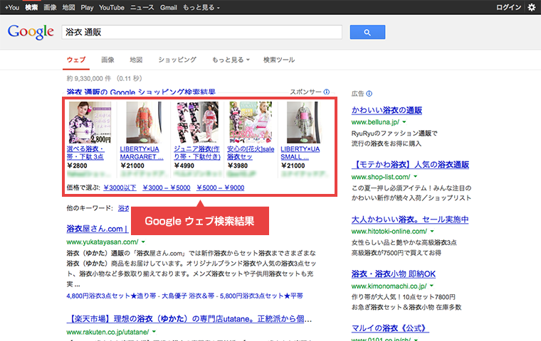 Google ウェブ検索 検索結果画面